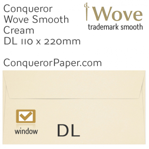 ENVELOPES - Wove.01531, TINT=Cream, WINDOW=Yes, TYPE=Wallet, SIZE=DL-110x220mm, QUANTITY=500