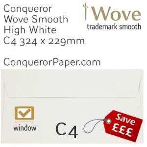 ENVELOPES - Wove.01576, TINT=HighWhite, WINDOW=Yes, TYPE=Wallet, SIZE=C4=324x229mm, QUANTITY=250