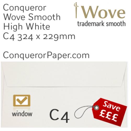 ENVELOPES - Wove.01576, TINT=HighWhite, WINDOW=Yes, TYPE=Wallet, SIZE=C4=324x229mm, QUANTITY=250