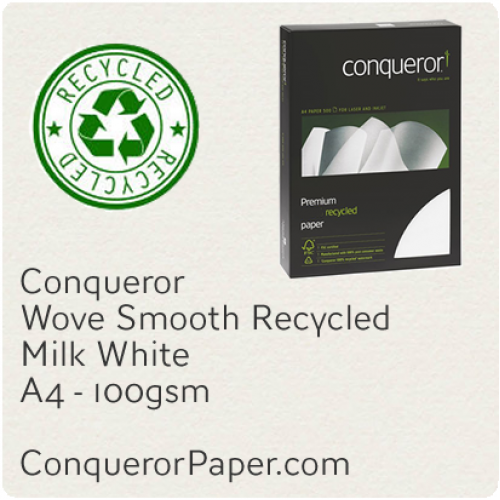 RECYCLED PAPER Wove.25706C, TINT:MilkWhite, FINISH:Wove, PAPER:100gsm, SIZE:A4, QUANTITY:500Sheets, WATERMARKED:Yes