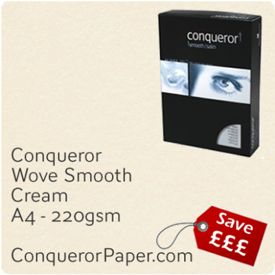 PAPER - Wove.38576C, TINT:Cream, FINISH:Wove, PAPER:220gsm, SIZE:A4-210x297mm, QTY:100Sheets, WATERMARK:No
