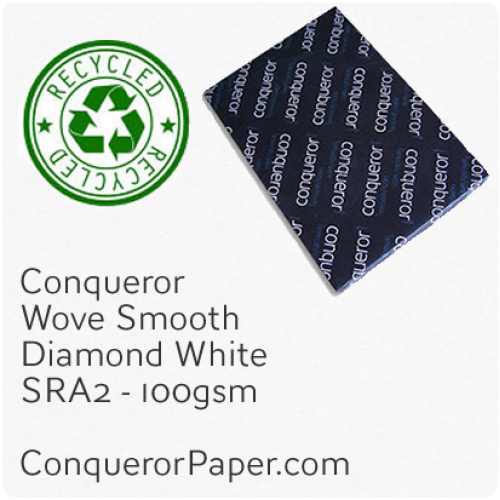 RECYCLED PAPER - Wove.41104, TINT:DiamondWhite, FINISH:Wove, PAPER:100gsm, SIZE:SRA2 - 450x640mm, QUANTITY:500Sheets, WATERMARK:Yes