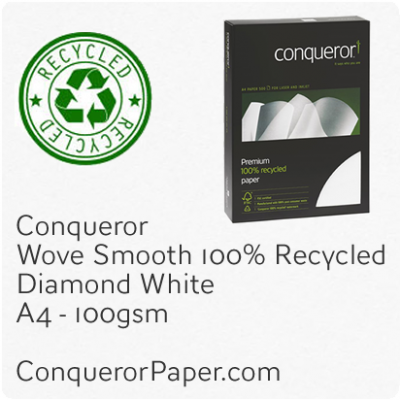 PAPER - Wove.41104C, TINT:DiamondWhite, FINISH:Wove, PAPER:100gsm, SIZE:A4-210x297mm, QTY:500Sheets, WATERMARK:Yes, 100%Recycled