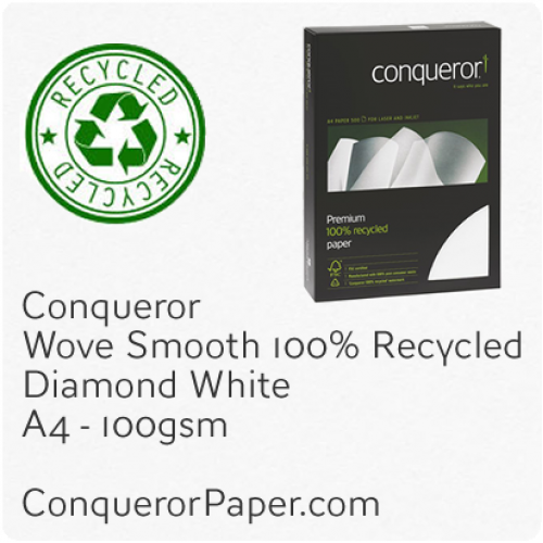 PAPER - Wove.41104C, TINT:DiamondWhite, FINISH:Wove, PAPER:100gsm, SIZE:A4-210x297mm, QTY:250Sheets, WATERMARK:Yes, 100%Recycled
