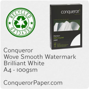 PAPER - Wove.41103, TINT:BrilliantWhite, FINISH:Wove, PAPER:100gsm, SIZE:A4-210x297mm, QTY:2,500Sheets, WATERMARK:Yes, 100%Recycled