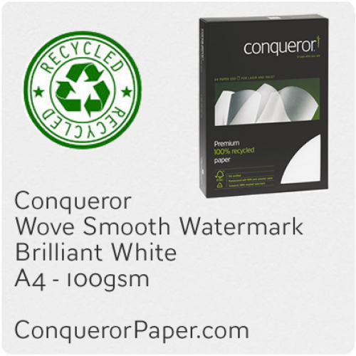 PAPER - Wove.41103C, TINT:BrilliantWhite, FINISH:Wove, PAPER:100gsm, SIZE:A4-210x297mm, QTY:500Sheets, WATERMARK:Yes, 100%Recycled