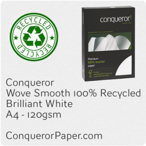 PAPER - Wove.41108C, TINT:BrilliantWhite, FINISH:Wove, PAPER:120gsm, SIZE:A4-210x297mm, QTY:500Sheets, WATERMARK:No, 100%Recycled
