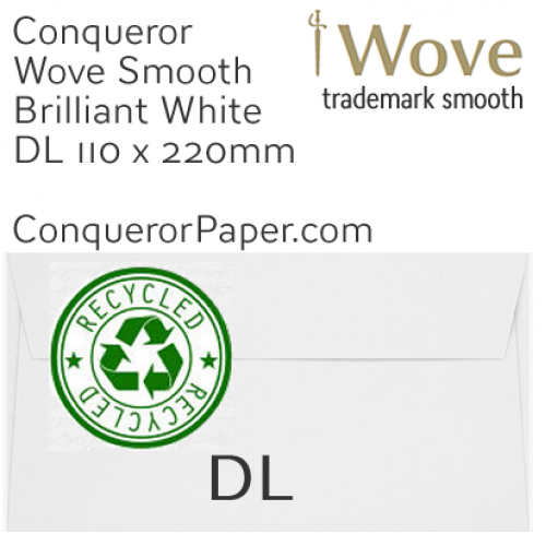 ENVELOPES - Wove.41129, RECYCLED, TINT=BrilliantWhite, WINDOW=No, TYPE=Wallet, SIZE=DL-110x220mm, QUANTITY=500