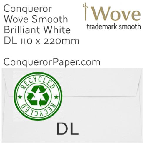 ENVELOPES - Wove.41129, RECYCLED, TINT=BrilliantWhite, WINDOW=No, TYPE=Wallet, SIZE=DL-110x220mm, QUANTITY=500