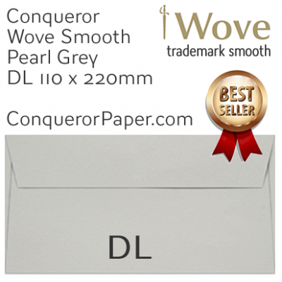 SAMPLE - Wove.46854, WINDOW=No, TYPE=Wallet, TINT=Pearl Grey, SIZE=DL-110x220mm, QUANTITY=1