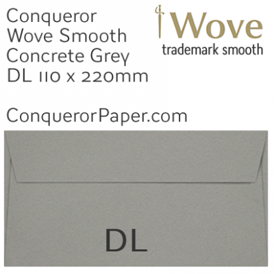 ENVELOPES - Wove.46856, WINDOW=No, TYPE=Wallet, TINT=Concrete Grey, SIZE=DL-110x220mm, QUANTITY=500