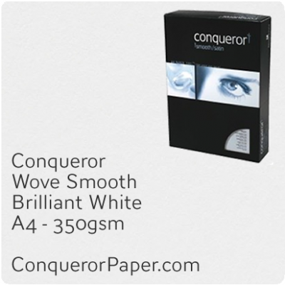 PAPER - Wove.47813C, TINT:BrilliantWhite, FINISH:Wove, PAPER:350gsm, SIZE:A4-210x297mm, QTY:50Sheets, WATERMARK:No