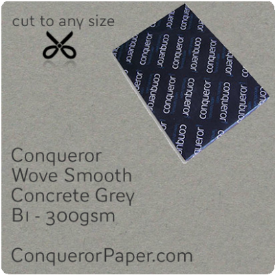 PAPER - Wove.64031, TINT:Concrete Grey, FINISH:Wove, PAPER:300gsm, SIZE:B1-700x1000mm, QTY:100Sheets, WATERMARKED:No