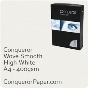 PAPER - Wove.64040C, TINT:HighWhite, FINISH:Wove, PAPER:400gsm, SIZE:210x297mm, QTY:50Sheets, WATERMARK:No