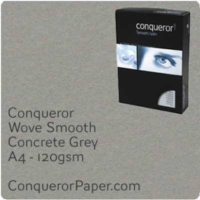 PAPER - Wove.72238C, TINT:Concrete Grey, FINISH:Wove, PAPER:120gsm, SIZE:A4-210x297mm, QTY:250Sheets, WATERMARKED:No