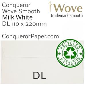 ENVELOPES - Wove.82909, TINT=MilkWhite, WINDOW=No, TYPE=Wallet, SIZE=DL-110x220mm, QUANTITY=500, Recycled