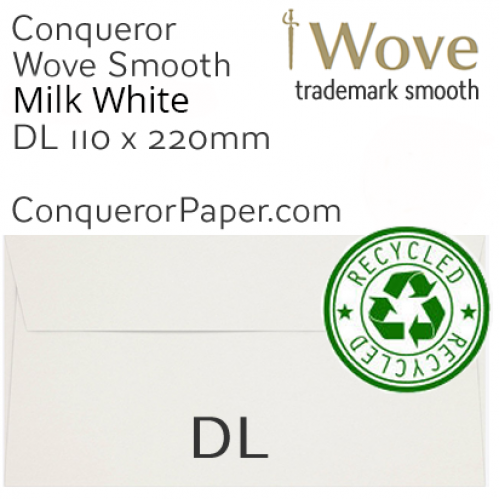 ENVELOPES - Wove.82909, TINT=MilkWhite, WINDOW=No, TYPE=Wallet, SIZE=DL-110x220mm, QUANTITY=500, Recycled
