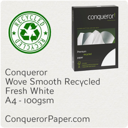 RECYCLED PAPER Wove.96815C, TINT:FreshWhite, FINISH:Wove, PAPER:100gsm, SIZE:A4, QUANTITY:500Sheets, WATERMARKED:Yes