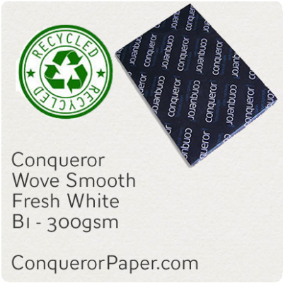 RECYCLED PAPER Wove.96819, TINT:FreshWhite, FINISH:Wove, PAPER:300gsm, SIZE:700x1000mm, QUANTITY:100Sheets, WATERMARKED:No