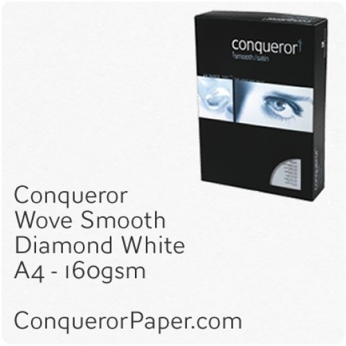 PAPER - Wove.96839C, TINT:DiamondWhite, FINISH:Wove, PAPER:160gsm, SIZE:A4-210x297mm, QTY:150Sheets, WATERMARK:No