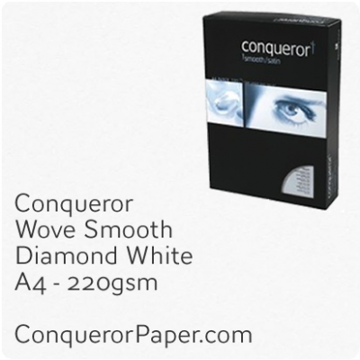 PAPER - Wove.97136C, TINT:DiamondWhite, FINISH:Wove, PAPER:220gsm, SIZE:A4-210x297mm, QTY:100Sheets, WATERMARK:No
