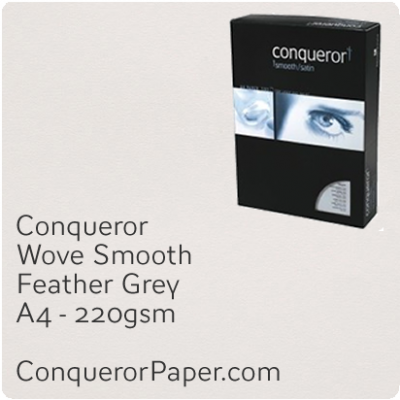 PAPER - Wove.42869C, TINT:Feather Grey, FINISH:Wove, PAPER:220gsm, SIZE:A4-210x297mm, QTY:200Sheets, WATERMARKED:No