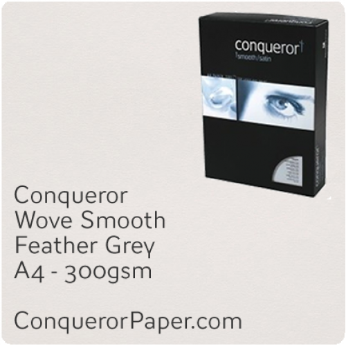 PAPER - Wove.42871C, TINT:Feather Grey, FINISH:Wove, PAPER:300gsm, SIZE:A4-210x297mm, QTY:100Sheets, WATERMARKED:No