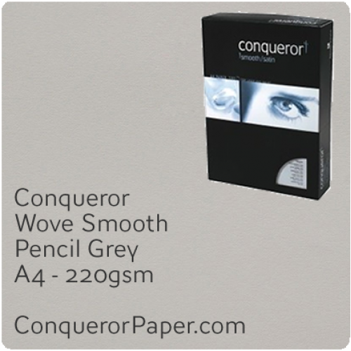 PAPER - Wove.42864C, TINT:Pencil Grey, FINISH:Wove, PAPER:220gsm, SIZE:A4-210x297mm, QTY:200Sheets, WATERMARKED:No